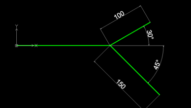 draftsight line angle
