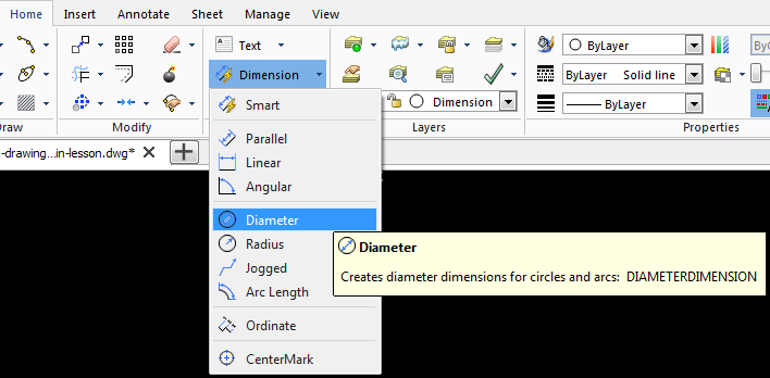 draftsight dimensions