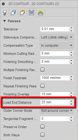 lead end distance fusion 360