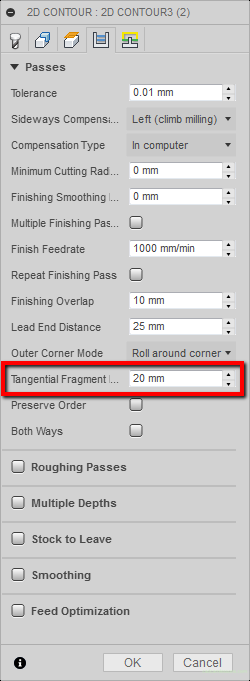 tangential fragment extension distance
