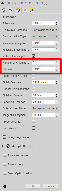 fusion 360 number of finishing passes