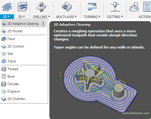 2D Adaptive Clearing Fusion 360 CAM Tutorial
